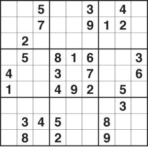 Sample Sudoku puzzle.