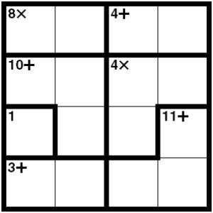 Sample Ken Ken puzzle.